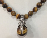"Wholesale 18kgp Gold Necklace - Excellent Pretty 8mm Natural Tiger Eye Pendant Necklace 18 ""18KGP"