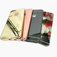 Wholesale Metal Back Iphone Case Bumper - Newest Luxury Aluminum Metal Bumper Frame Slim Acrylic Mirror Back Cover for iphone 6 6s 6splus 7 7plus