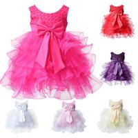 Wholesale Linen Lace Wedding Dresses - Wholesale- Toddler Vestido Infantil Infant Cake Baby Girl Dress Flower Girl Party Outfits Tutu Newborn Wedding for 0-24M Birthday Dress