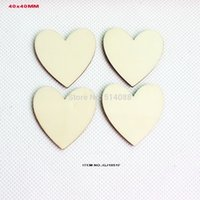 Wholesale Unfinished Wooden Cutouts - Wholesale- (120pcs lot) Unfinished wooden heart love crafts suppliers wedding save date heart cutout 40MM-GJ1051F