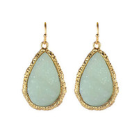 Wholesale Teardrop Stone Earring - 2016 New Design Big Resin Stone Long Earrings For Women Teardrop-shaped Waterdrop Earrings Gold Plated Dangle Earrings Bijoux