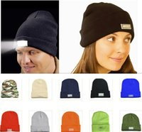 Wholesale Christmas Lights Hat - Top quality LED Light Knit Hats for women Unisex Sports Beanies Winter Warm Beanies Hat Skull Caps