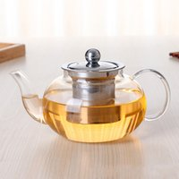 Wholesale Wholesale Clear Glass Teapots - Glass Teapot 600ML Clear Glass Teapot Warm With A Stainless Steel Lid And Strainer Inside Heat-Resisting Teapots Hot Sale
