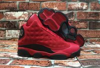 Wholesale Red Rhinestone For Sale - Wholesale Retro 13 XIII What Is Love 13s Sneakers Black Red Suede Mens Basketball Shoes Men Cheap Sneakers For Sale 888164-601 Super Quality