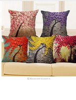 Wholesale Vintage Flower Throw - Cushion Cover Vintage Flower Pillow Case Mural Yellow Red Tree Wintersweet Cherry Blossom Home Decorative Throw Pillow Cover