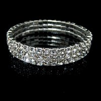 Wholesale Bridal Tennis Bracelet - New Cheap 3 Row Stretch Bridal Bangle Silver Rhinestones Cute Prom Homecoming Wedding Party Evening Jewelry Bracelet Bridal Accessories