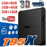 Wholesale Flash Google - T95X Android TV Box Amlogic S905X Quad-Core Android 6.0 16.1 1GB 8GB 2GB 8GB 2GB 16GB DDR3 RAM emmc Flash Miracast 0803100
