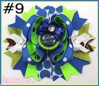 Wholesale football hair bows resale online - quot team hair bows with sequin football hair clips Layered Bottle Cap Hair Bow girl sport bows