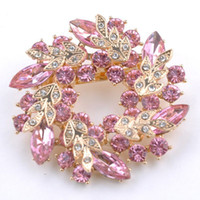 Wholesale Wholesale Bling Brooches - Wholesale- 1 Pcs Bling Bling Crystal Rhinestone Gold Plated Chinese Redbud Flower Brooch Pins Jewelry Women Brooches for Scarf