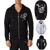 Wholesale Cardigan Men Wear - Europe Brand Crystal Skull Sweatshirt Men Multi Printed Full Zip Through Up Hooded Cardigan Hoodie Man Sweat Hood Jumpers Sports Wear Male