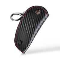 lexus leather key großhandel-3D Leder Kohlefaser Fernschlüsselkasten kette keyless Fob abdeckung Halter für Audi BMW Volkswagen Honda Toyota Mazda Lexus Kia