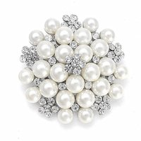 marfil grande al por mayor-Yiwu Factory Wholesale Silver Tone CREAM / Marfil Faux Pearl y Rhinestone Crystal Large Bridal Broch Pins