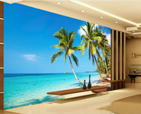 Wholesale Mural Definition - High - definition sunny sea beach coconut palm TV wall mural 3d wallpaper 3d wall papers for tv backdrop
