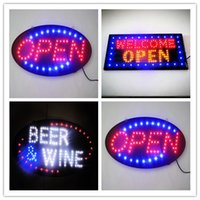 "Wholesale Led Open Business Signs - 2017 super brightly Boards Neon LED ""OPEN"" Welcome Open Beer Wine Business Sign with a Chain 19 x 10 Inch"