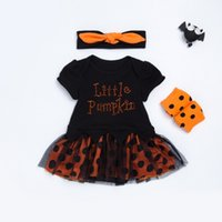 Wholesale Boys Dress Clothes 24 Months - 2017 Halloween Children Sets pumpkin Dots Girls Dress Clothing Sets baby rompers onesie + headbands + polka dot leggings outfits C2104