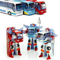 Wholesale 3 Styles Robot Transformation Bus Car Toys Alloy Deformation Police Robot Bus Toys For Kids children color EB