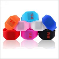 Wholesale Silicon Sport Wristwatch - Fashion Silicon Rubber Touch Led Sport Watch Ultra Thin Electronic Digital Jelly Candy Wristwatch Men Women Unisex Casual Watches