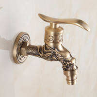 Wholesale Vintage Washing Machines - New Europe Style Carved Washing Machine Faucets Antique Single Holder Shower Faucet Vintage Bathroom Brass Wall Tap Deck Mounted