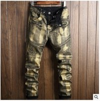 Wholesale Winter Coats Japan - 2017 new trend of foreign trade men's trousers, autumn and winter high-end brush paint, golden coat, jeans, men's self-cultivation
