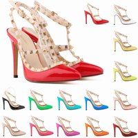 Wholesale Ladies Sexy Pointed Toe High Heels Women Pumps Patent Leather Shoes Rivets Stilettos Sandals Party Wedding Shoes D0078