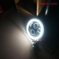 Wholesale Led Rings For Headlights - Round 5.75'' motorcycle H4 Hi Lo Beam 5 3 4 inch LED Headlight with Angel eyes halo Ring DRL For Harley Sportster Iron 883 1200 Dyna FXDB