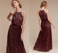 2017 Beach Bridesmaid Dresses Line Halter Cap Sleeve Floor Length Full Lace Burgundy Bridesmaid Gowns для свадьбы