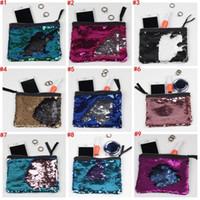 Wholesale Glitter Coin Purses Wholesale - DHL 100PCS Sequin Clutch Bag Mermaid Sequin Purse Mermaid Makeup Bags Cosmetic Bag Glitter Sequins Coin Bags Fashion Pouch makeup bag