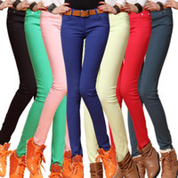 Wholesale Ladies Candy Color Pants - Free Shipping Women Sexy Candy Color Pencil Pants Casual pants Skinny Pants With Cotton Fashion Winter Trousers Fit Lady jeans