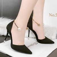 Wholesale Rose Cut Beads - woman shoes metal pumps string bead high heel sandals pointed toe sildes shallow slip on black gray khaki rose red
