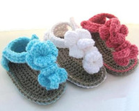 Wholesale Crochet Double Sole Baby Shoes - Baby girls flower knitted shoes crochet flower sandals slippers newborn infant toddler kids first walker shoes 0-12M double sole cotton yarn