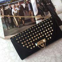 Wholesale Black Studded Bag - European classical style luxury Milan zoshow new handbag shoulder bag made of leather bag ladies bag gold studded banquet