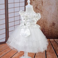 Wholesale Kids Ball Dresses Price - Wholesale- Free shipping 6M-18M Infant Dress Low Price White baby Dress 1 year birthday girls kids Christening Gown wholesale in stock 5013