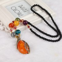 Wholesale Crystal Decorative Items - 2017 National Wind Crystal Bead Chain New Item Decorative New Retro Bohemian Fashion Sweater Chain Long Necklace Dragon Beaded Pendant