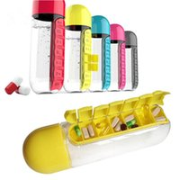 Plastic sport drinking cups - Pill Box Bottle Cycling Camping Sports Water Bottle Daily Capsule Organizer Cups Drinking Bottles Colors OOA1887