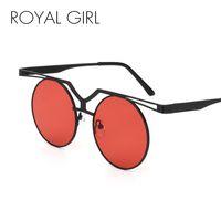 Wholesale Eyewear Glasses Nose - ROYAL GIRL Fashion Flat Top Sunglasses Women Classic Brand Design Round Sun Glasses Double Nose Metal Frame Eyewear SS524