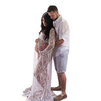 Wholesale Blue Color Photography - maternity photography long dress for pregnant women pregnancy pajamas sexy lace dress Long Fairy Trailing Dress Photo Shoot Shower