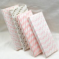 Wholesale Pink Paper Drinking Straws - Wholesale- Hot Sale Pink White Gold 100pcs Paper Straws Paper Drinking Straws For Kids Birthday Party Wedding Decorations
