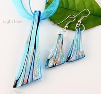 Wholesale Cheap Glass Necklaces - New Cheap murano glass pendants silver foil lampwork pendant blown necklaces and earrings sets Fashion jewelry in bulk