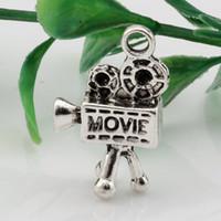 x filmes quentes venda por atacado-Venda imperdível ! 100 pcs Antique prata 3D Movie Camera Charme Pingentes Jóias DIY 16x26.5mm