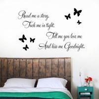vinyl wandabziehbilder kuss gute nacht groihandel-'' Sag mir, dass du mich liebst Kiss me Goodnight '' Schmetterlinge DIY Removable Art Vinyl Quote Wandaufkleber Aufkleber Wandbild Dekoration