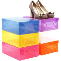 Wholesale Modern High Heel Shoes - 100pcs lot Women's High Heels Plastic Clear Shoes Box Storage Packaging Organizer Box Case 28cm*18cm*10cm, Free Shipping