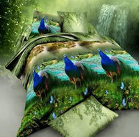 Wholesale Green Peacock Bedding - 3D Peacock print Bedding sets bedspread Queen size Full double duvet cover set bed in a bag sheet linen quilt doona bedset 4PCS