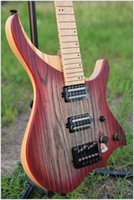 NK Material luminoso steinberger estilo Modelo sin cabeza Guitarra eléctrica rojo Color Flame maple Neck stock Guitarra