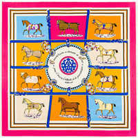 Wholesale Scarves Horse Design - Wholesale-100cm*100cm 100% Twill Silk Euro Brand French design Ten Horse Pattern Printed Women Gift Silk Scarves 3108