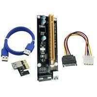 Wholesale Ipad Data Power Cable - PCIe PCI-E PCI Express Riser Card 1x to 16x USB 3.0 Data Cable SATA to IDE Molex Power Supply for BTC Bitcoin Litecoin Miner Machine