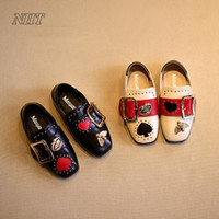 Wholesale Stylish Kids Shoes - children 's white kids shoes on sale, toddler girl loafers buckle lip designs dress stylish princess flat shoe party