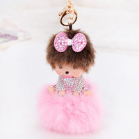 Wholesale Silicone Women Doll - Kawaii Monchhchi Doll with Fluffy Ball Rhinestone Keychain Car Keyring Women's Girl's Handbag Pendant Charms Best Gift
