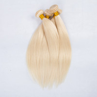 Wholesale Brazilian Blond Weave - European blond #613 Straight virgin hair 100% Unprocessed Remy Human Hair weave white Blonde Straight 3 bundles virgin Hair