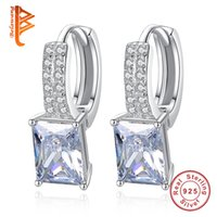Wholesale 925 Square Hoop Earrings - BELAWANG 925 Sterling Silver White Square Crystal Hoop Earrings Pave Tiny Cubic Zirconia Love Earring Wedding Engagement Party Jewelry