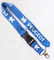 Wholesale Peugeot Keychain - Automobile wind PEUGEOT Lanyard Keychain Key Chain ID Badge cell phone holder Neck Strap black or blue.